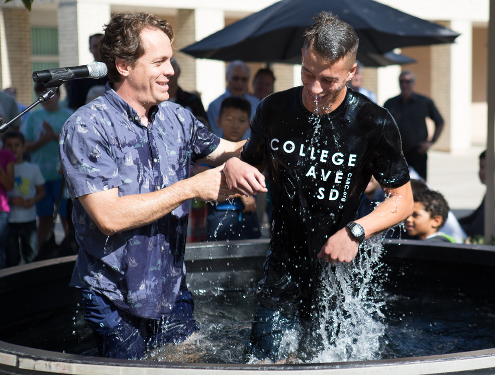 Two months after Bryan Eckert (left) share the gospel with him, this new believer was baptized.